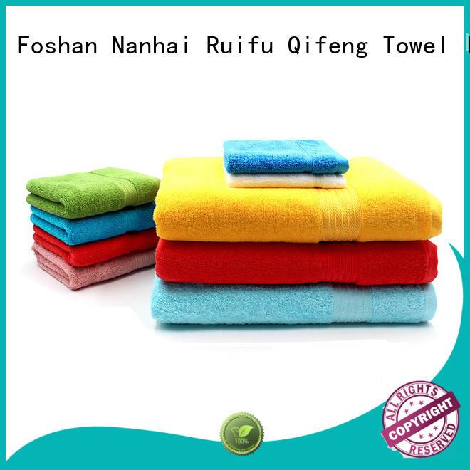 Ruifu Qifeng logo cotton towel set factory price for hotel