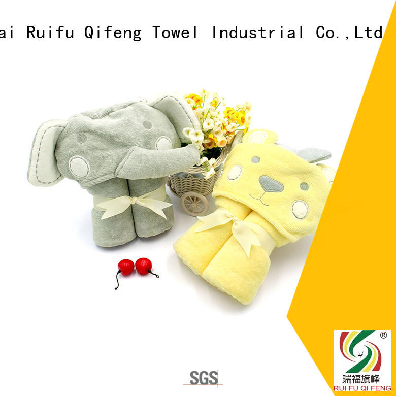 Ruifu Qifeng soft bamboo baby hooded towel promotion for hospital